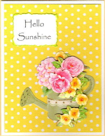3-D Sunshine Watering Cans Card Set - Click Image to Close